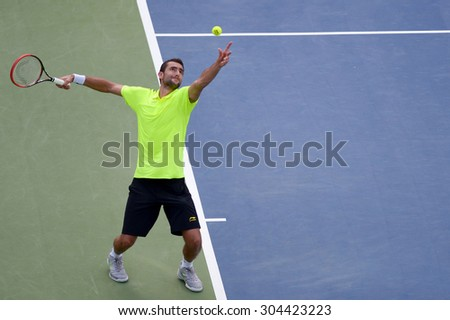 WASHINGTON? AUGUST 8: Marin Cilic (CRO) falls to Kei Nishikori (JPN, not pictured) in the semifinal round of the Citi Open tennis tournament on August 8, 2015 in Washington DC   - stock photo