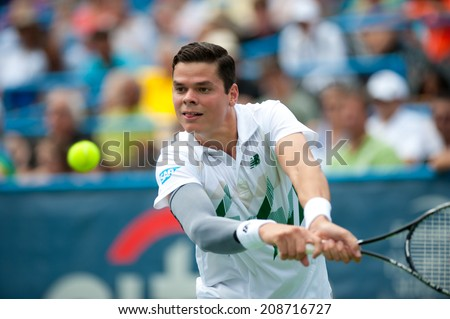 WASHINGTON  AUGUST 2: Milos Raonic (CAN) defeats Donald Young (USA, not pictured) in semifinal play at the Citi Open tennis tournament on August 2, 2014 in Washington DC - stock photo