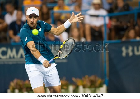 WASHINGTON - AUGUST 7: Steve Johnson (USA) defeats Jack Sock (USA, not pictured) at the Citi Open tennis tournament on August 7, 2015 in Washington DC  - stock photo
