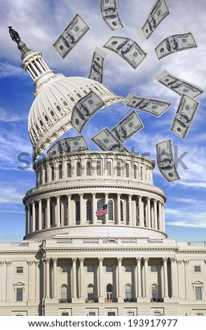 Washington capital building top coming off with flying money. - stock photo