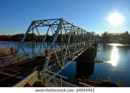 Washington Crossing Bridge over the Delaware River between Pennsylvania and New Jersey - stock photo