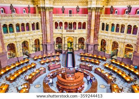 WASHINGTON, D.C. - APRIL 12, 2015: The Library of Congress in Washington. The library officially serves the U.S. Congress. - stock photo