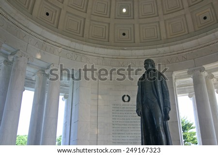 WASHINGTON D.C. - JUL 25: The Thomas Jefferson Memorial, modeled after the Pantheon of Rome, is America's foremost memorial to America's third president in Washington DC on July 25 2006.  - stock photo