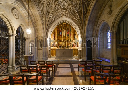 WASHINGTON D.C.  - JUNE 15, 2014: Interior view of National Cathedral in Washington. The Cathedral is listed on National Register of Historic Places  - stock photo