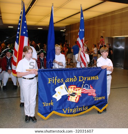 WASHINGTON,D.C. - JUNE 14:The Fifes and Drums of York Town in National Museum of American History on June 14, 2009 at Flag Day Ceremony. - stock photo