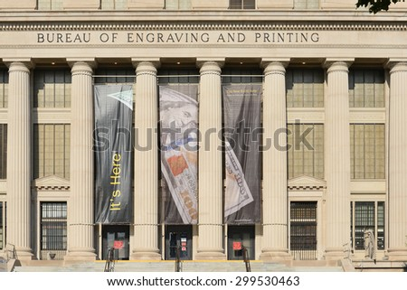 WASHINGTON D.C. - JUNE 26 2014: United States Bureau of Engraving and Printing Building. BEP's main function is to develop and produce United States currency notes, trusted worldwide. - stock photo