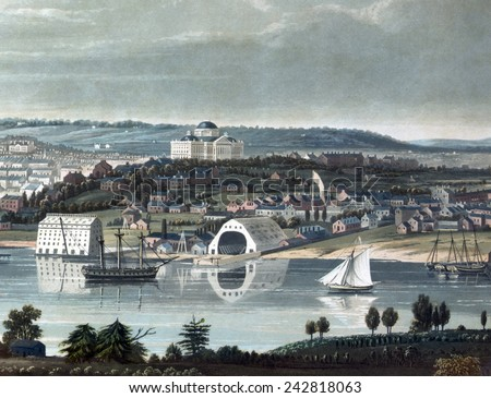 Washington, D.C. the United States Capitol from beyond the Navy Yard. 1833 - stock photo