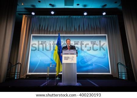 WASHINGTON D.C., USA - Apr 01, 2016: President of Ukraine Petro Poroshenko at the Nuclear Security Summit in Washington. - stock photo