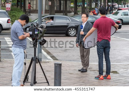 WASHINGTON D.C., USA - JUNE, 21 2016 - KBS is broadcasting television  news live at White House building  - stock photo