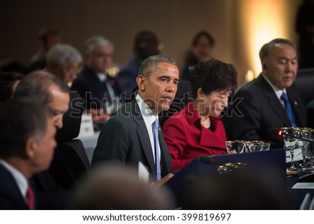 WASHINGTON D.C., USA - Mar 31, 2016: United States President Barack Obama at the Nuclear Security Summit which is a world summit, aimed at preventing nuclear terrorism around the globe - stock photo