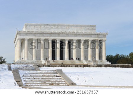 Washington DC, Abraham Lincoln Memorial in snow -  United States  - stock photo