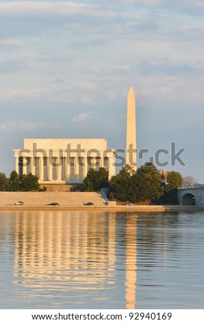 Washington DC - Abraham Lincoln Memorial, Monument and Arlington Bridge on Potomac River - stock photo