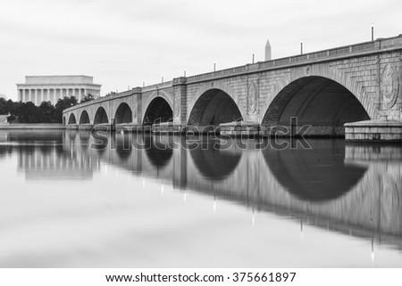 Washington DC - Abraham Lincoln Memorial, Washington Monument Monument and Arlington Bridge in black and white  - stock photo