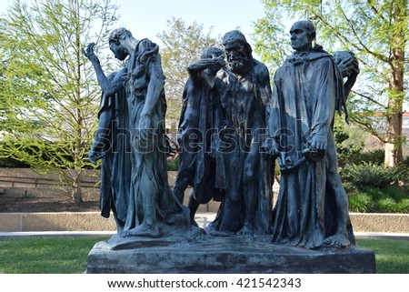 WASHINGTON, DC - APR 16: Les Bourgeois de Calais sculpture by Auguste Rodin at the Hirshhorn Sculpture Garden in Washington, DC, on April 16, 2016. In 2013, the Sculpture Garden drew 645,000 visitors. - stock photo