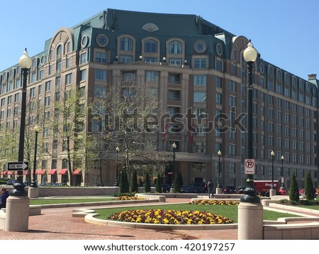 WASHINGTON, DC - APR 15: Mandarin Oriental hotel in Washington, DC, as seen on April 15, 2016. The hotel provides guests with Washington Monument and Marina views. - stock photo