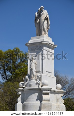 WASHINGTON, DC - APR 16: Peace Monument, on the grounds of the US Capitol, in Washington, DC, as seen on April 16, 2016. It was erected to commemorate the naval deaths during the American Civil War. - stock photo