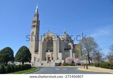 Washington, DC - April 12, 2015: Basilica of the National Shrine Catholic Church, Washington DC, USA. - stock photo
