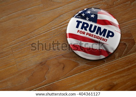 WASHINGTON, DC - APRIL 10, 2016: Illustration of presidential campaign button of Donald Trump running for the president's office. - stock photo