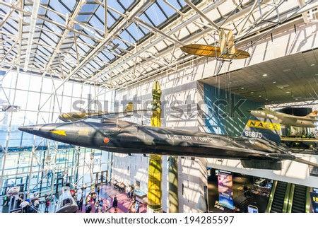 WASHINGTON DC-APRIL 10: National Air and Space museum in Washington on April 10, 2014.It holds the largest collection of historic aircraft and spacecraft in the world. Open for public at July 14, 2010 - stock photo