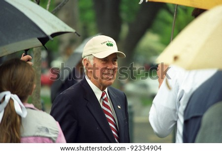 WASHINGTON, DC - APRIL 29: Senator Richard Lugar at a tree planting ceremony on the grounds of the Capitol in Washington, DC on April 29, 2005. Lugar, Republican of Indiana, was first elected in 1977. - stock photo