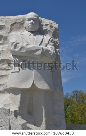 WASHINGTON DC - APRIL 24, 2014: The Martin Luther King Jr Memorial located on the National Mall in Washington DC on APRIL 24, 2014. The memorial opened August 22, 2011.  - stock photo