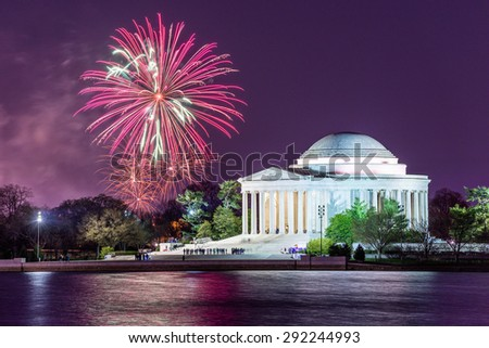 Washington DC at Jefferson Memorial with fireworks. - stock photo