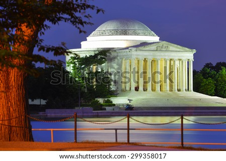 Washington DC at night - Jefferson Memorial as seen from Tidal Basin  - stock photo