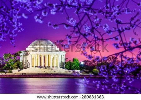 Washington, DC at the Jefferson Memorial during spring. - stock photo