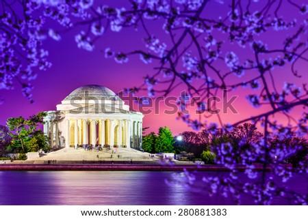 Washington, DC at the Jefferson Memorial during spring. - stock photo