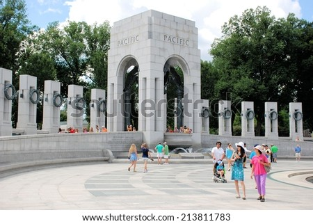 WASHINGTON, DC - AUGUST 24, 2014:  The National World War II Memorial located on the National Mall.  It is visited by 4.4 million people each year. - stock photo