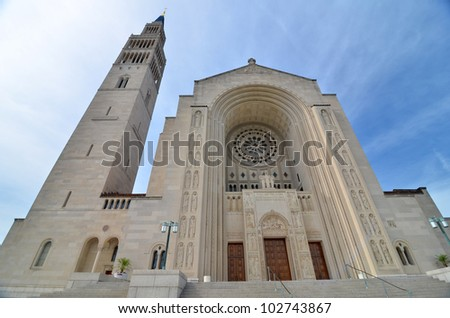 Washington DC - Basilica of the National Shrine of the Immaculate Conception - stock photo