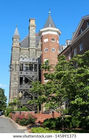 Washington DC, capital city of the United States. Famous Georgetown University. Prestigious education institution. - stock photo