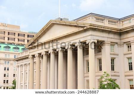 Washington DC, capital city of the United States. Treasury Department building. - stock photo