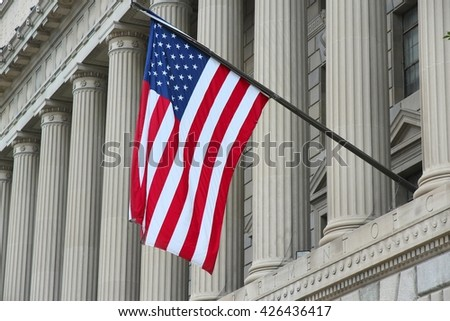 Washington DC, capital city of the United States. US Department of Commerce. - stock photo