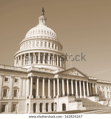 Washington DC , Capitol Building - detail, US - sephia - stock photo