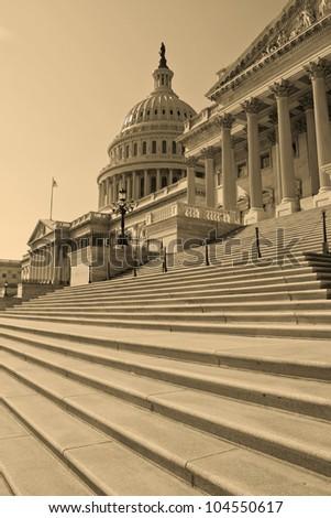 Washington, DC, Capitol building , United States of America - sepia - stock photo