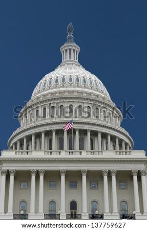 Washington DC Capitol on deep blue sky background - stock photo