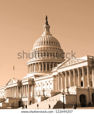 Washington, DC, Capitol , USA - sephia - stock photo