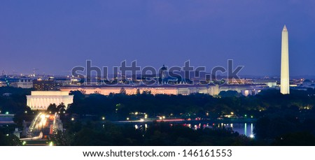 Washington DC cityscape at night including Lincoln Memorial, National Mall, Washington Monument and Arlington Memorial Bridge - stock photo