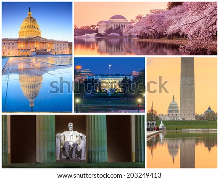 Washington DC famous landmarks picture collage - USA - stock photo