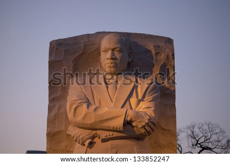 WASHINGTON DC - FEB 23: The Martin Luther King Jr Memorial located on the National Mall on the Tidal Basin in Washington DC on February 23 2013. This memorial is the 395th National Park - stock photo