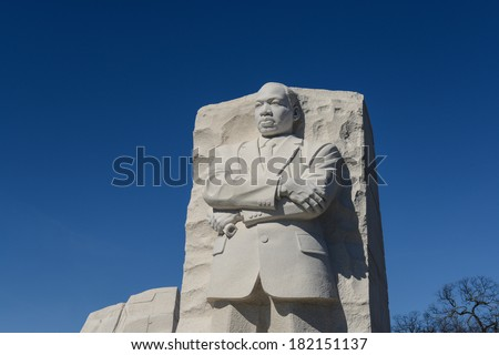 WASHINGTON, DC - FEBRUARY 17: Memorial to Dr. Martin Luther King on February 17, 2013. The memorial is America's 395th national park. - stock photo