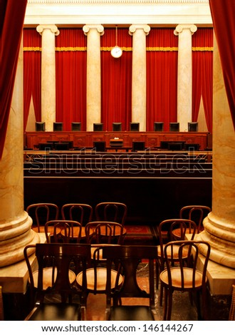 WASHINGTON DC - FEBRUARY 21: The Supreme Court of the United States of America on February 21, 2013. The Supreme Court is the highest court in the United States. - stock photo