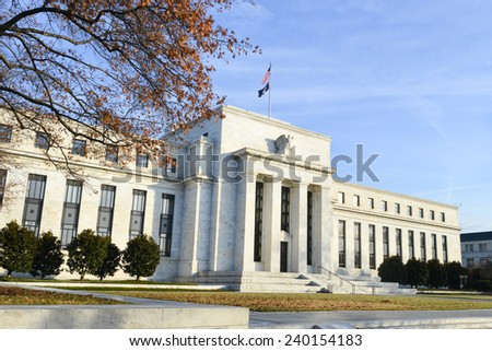 Washington DC - Federal Reserve building in Autumn  - stock photo
