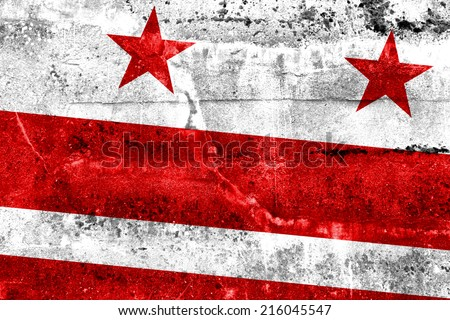 Washington DC Flag painted on grunge wall - stock photo