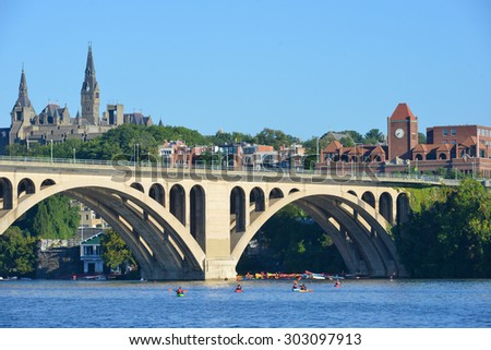 Washington DC - Georgetown and Key Bridge  - stock photo