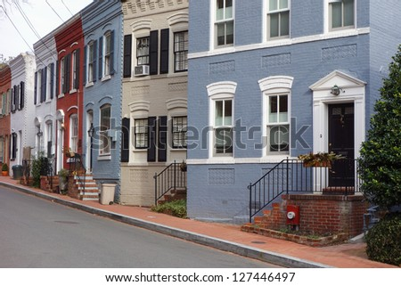 Washington DC, Georgetown historical district - A street with preserved old mansions - stock photo