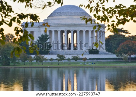 Washington DC in Autumn - Jefferson Memorial as seen from Tidal Basin - stock photo