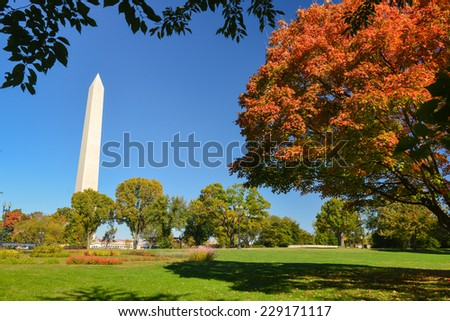 Washington DC in Autumn - Washington Monument as seen from Tidal Basin  - stock photo