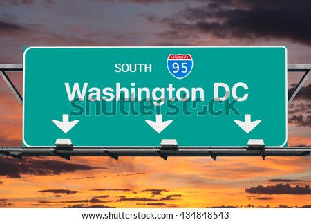 Washington DC Interstate 95 south highway sign with sunrise sky. - stock photo